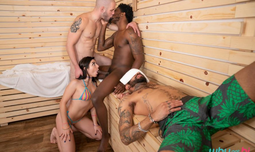 WhyNotBi – Stuffed in the Steam Room – Keira Croft, Bama Romello, Wolf Hudson