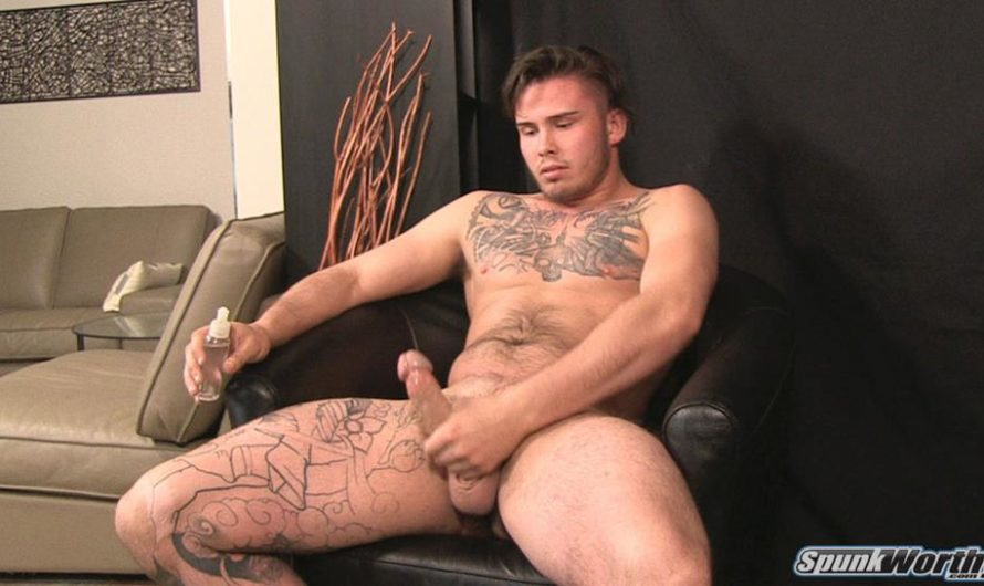SpunkWorthy – Rock-hard jock Lewis busts a nut