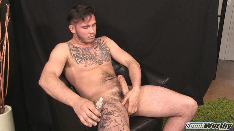 SpunkWorthy - Rock-hard jock Lewis busts a nut SpunkWorthy