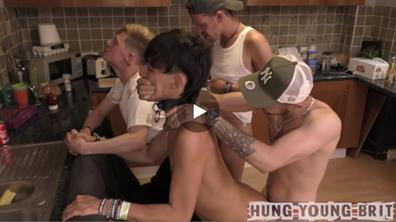 HungYoungBrit – 2 Perverted Sex Addicts Pump N Drench 2 Lads Nealling on Chairs Arses out