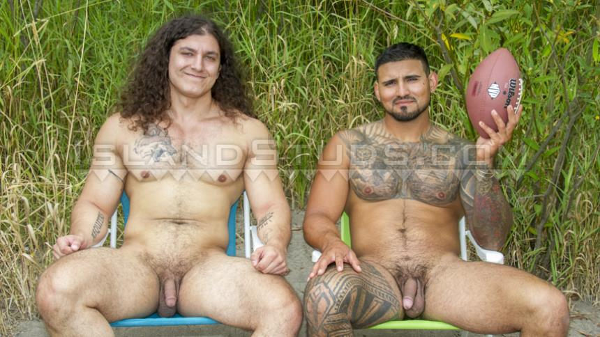 IslandStuds – Newcomers Giant Judah & Ripped Rigo in Football Nude