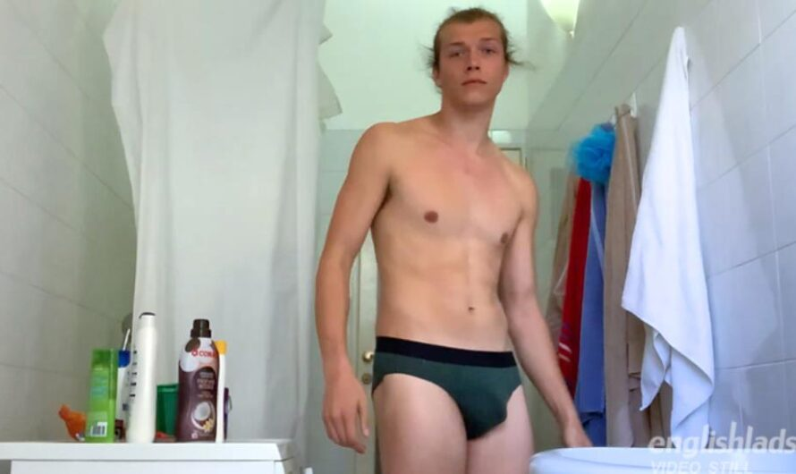 EnglishLads – Aiden Kennedy Pumps his Tight Hole & Wanks his Big Uncut Cock in the Shower