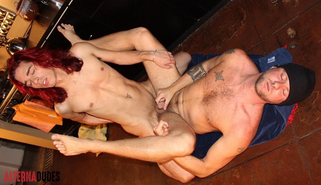 AlternaDudes - Long Haired Twink Fucks Hairy Tatted Daddy AlternaDudes